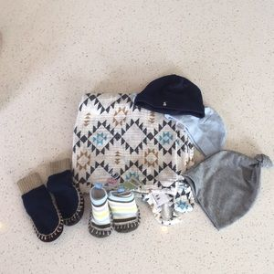 Swaddle blanket, newborn hats and sock shoes